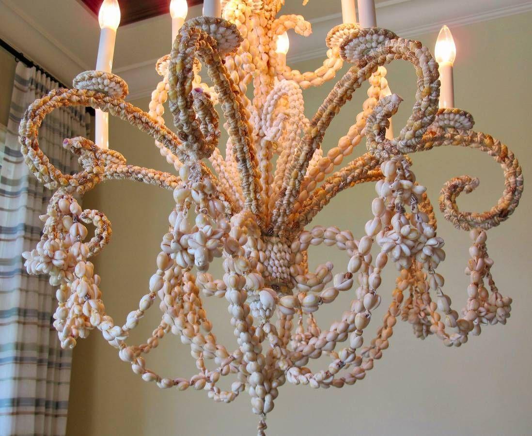 Seashell Lined Chandelier Light Fixture 2 1024x839 Chandelier