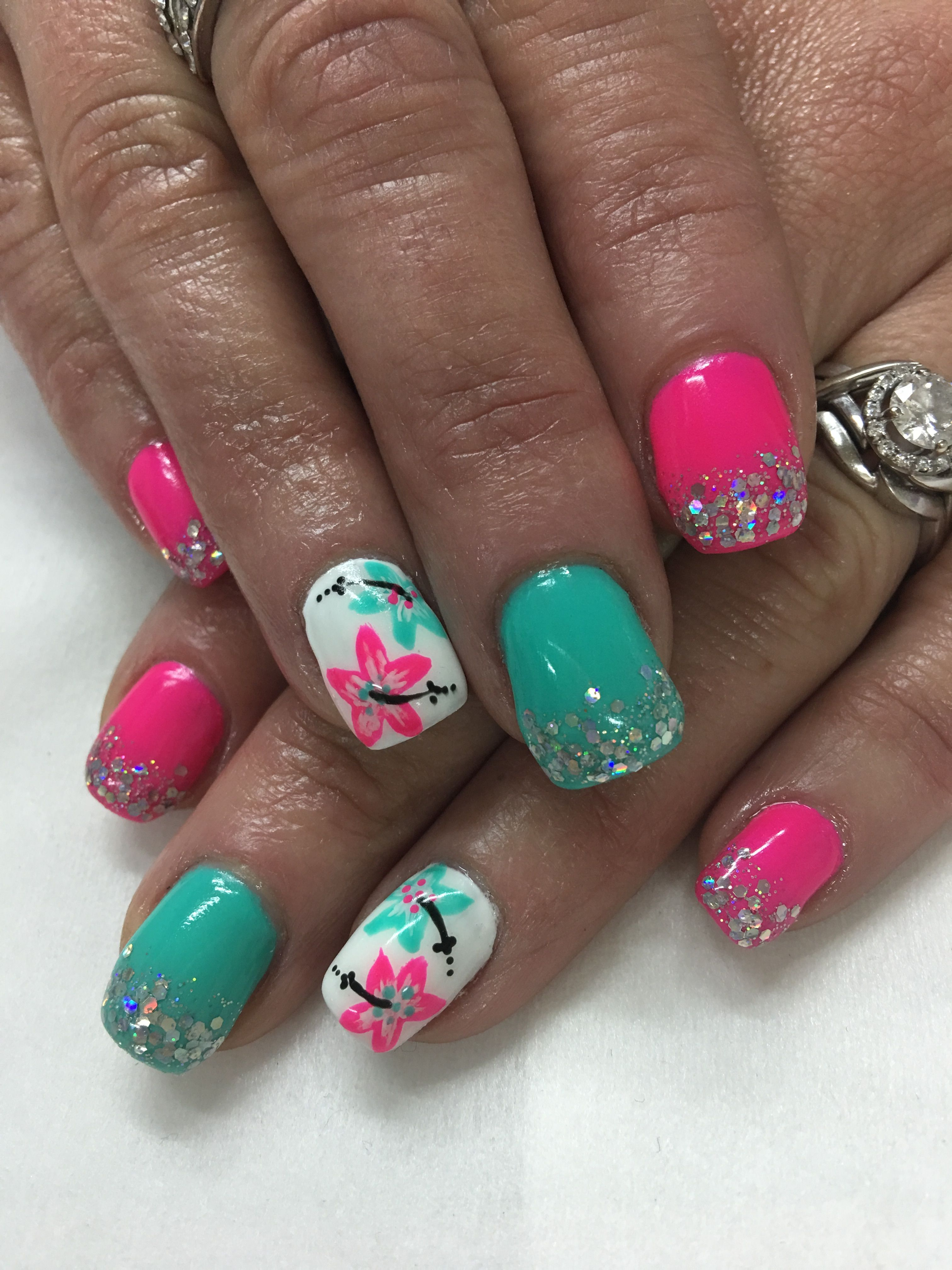 Light Elegance Playful Pink Just White Buttercream Seafoam And Hand Painted Tropical Hibiscus Flowers Gel Nai Beach Nail Designs Luxury Nails Vacation Nails
