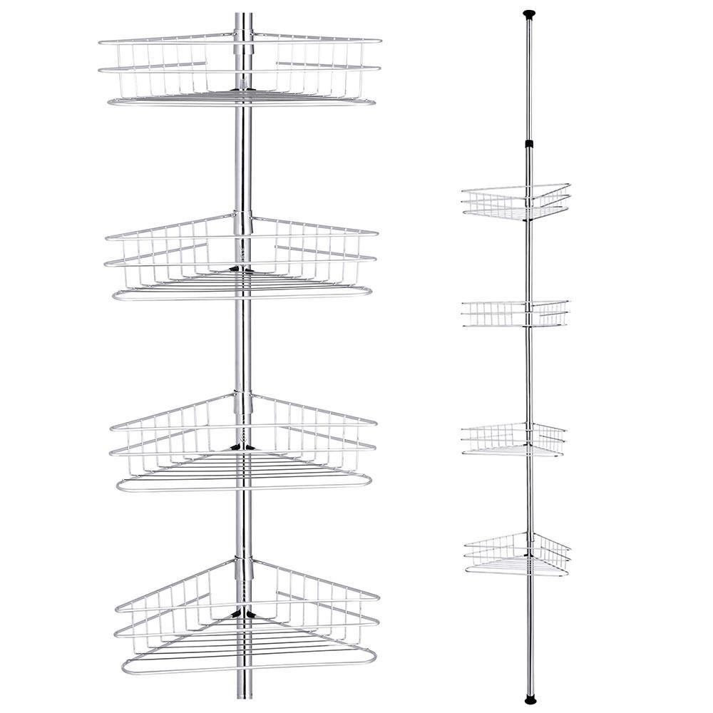 4 Baskets Bathtub Corner Shower Caddy Adjustable Pole Silver ...