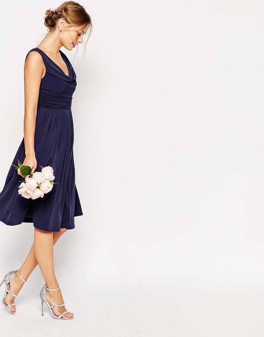 4d87edc5f020 Image 4 of ASOS WEDDING Cowl Neck Midi Dress