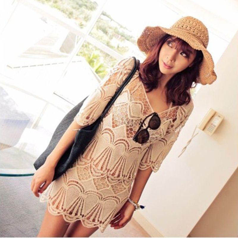Mulheres Lace Crochet oco Bikini Cover Up vestido Swimwear de manga curta em Saídas de Praia de Roupas e Acessórios no AliExpress.com | Alibaba Group