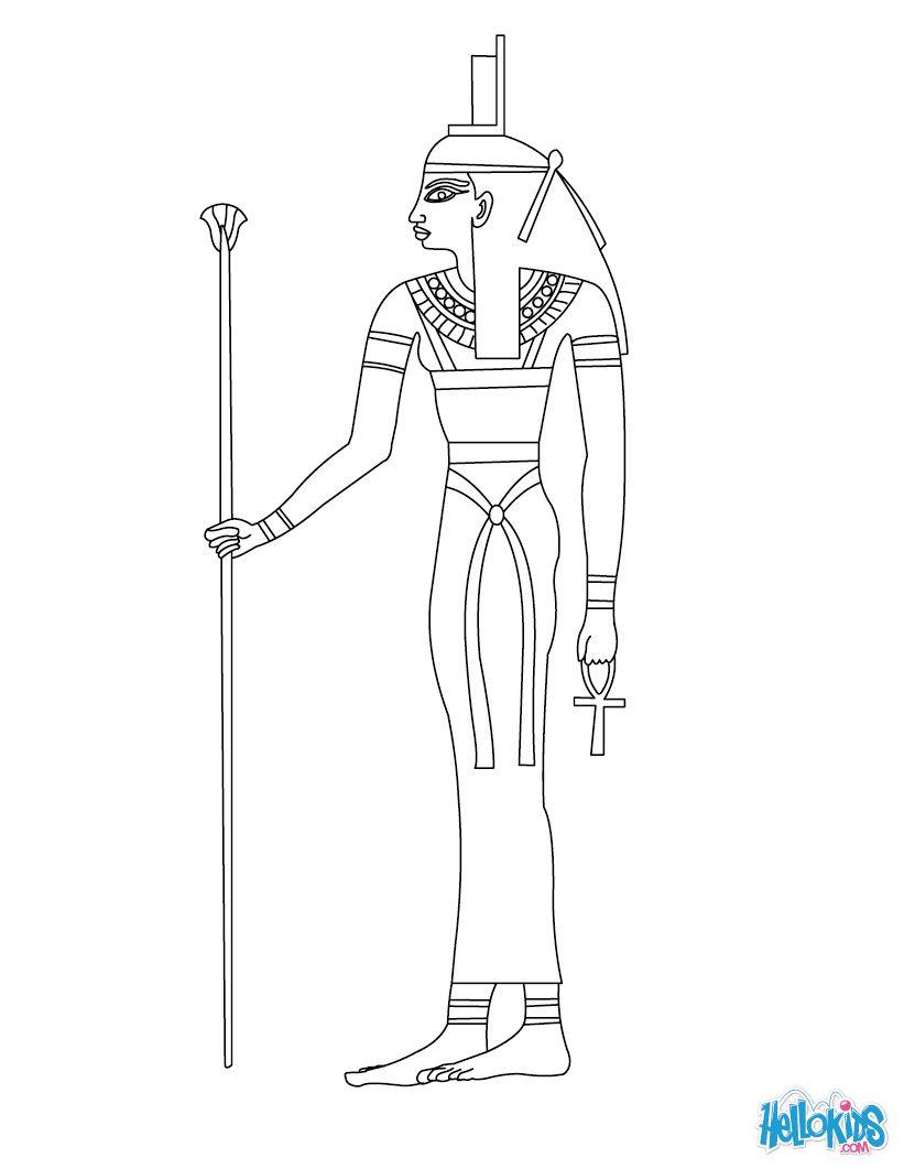 Hathor Egyptian Goddess Gods Coloring Page Deuses Egipcios