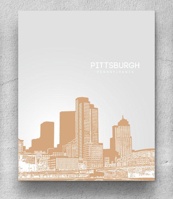 Home Decor Skyline Art / Pittsburgh Skyline Poster / Any