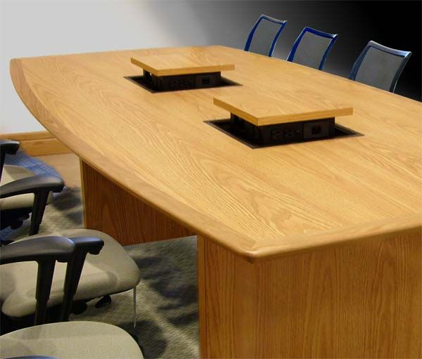 Piatto Conference Table With Pop Up Computer Cable Connection Boxes - Conference table data boxes