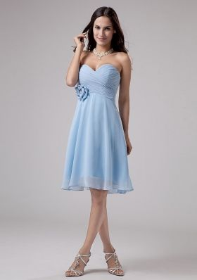 Light Blue Bridesmaid Dresses With Hand Made Flower and Ruching ...