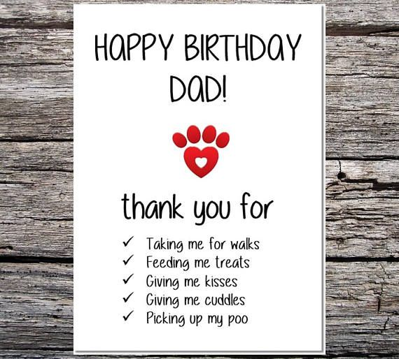 Card From The Dog Funny Dog Card Dad Birthday Card Funny Etsy Dad Birthday Card Happy Birthday Dad Happy Birthday Daddy