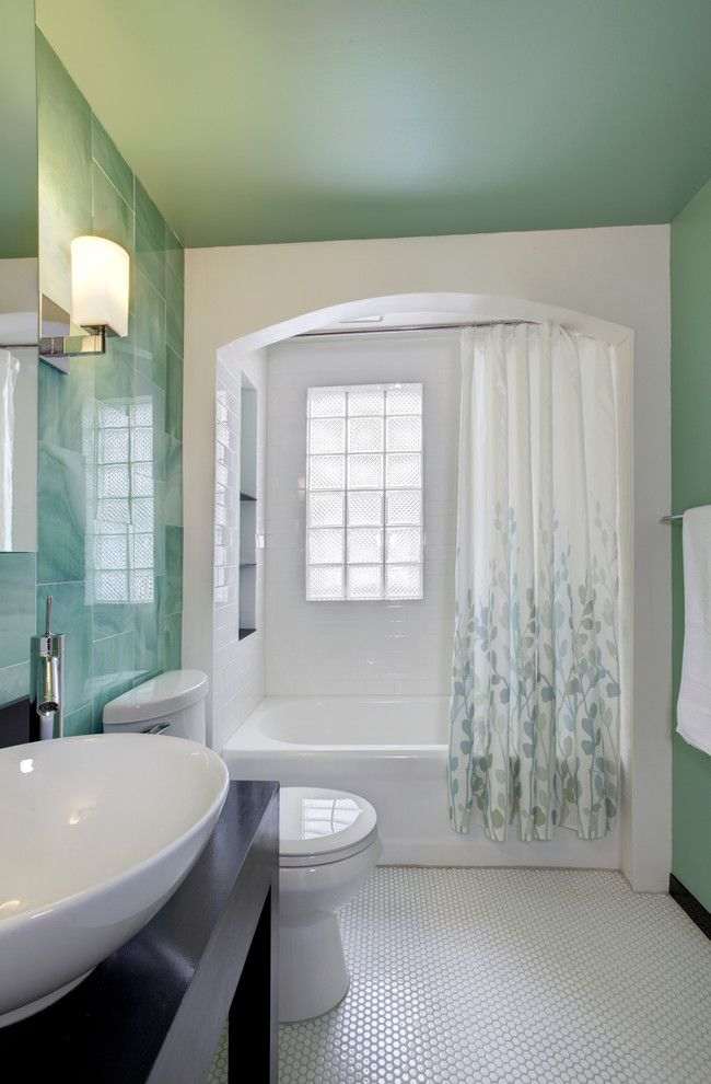 inspired tub enclosures trend bathroom image ideas with 1930s glass tile 3x6 subway tile
