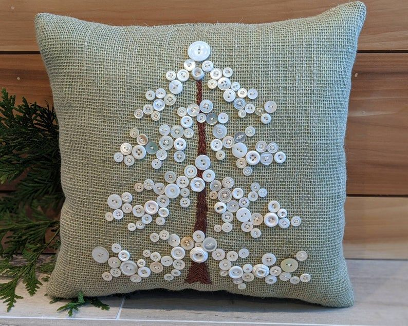 Christmas Pillow, Green Holiday Pillow for Christmas, Holiday Decor, Christmas Gift, Burlap Pillow Vintage Buttons, Christmas Decor for Her