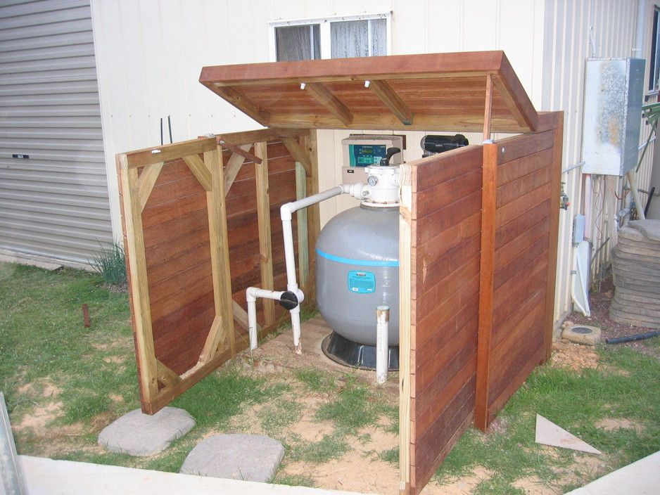 Pool Pump Shed Designs ways to hide pool equipment diy small cedar storage shed to hide trash cans Pool Pump Enclosures Da Building Services Buildingconstruction Ashmore Qld 4214