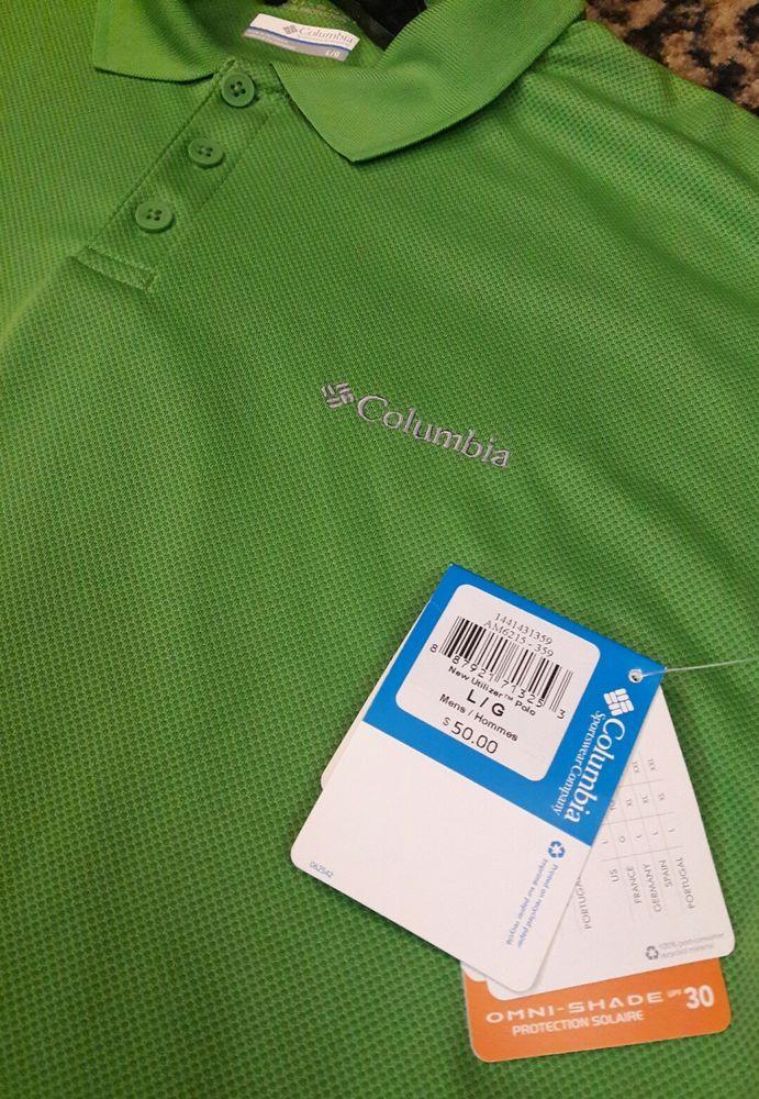 a5fe099e619 New Columbia Men's Utilizer Omni-Shade Wick Polo Shirt UPF 50 Irish Green  Large #Columbia #Polo