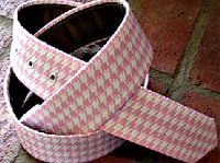 Loopty Loo Pink & White Houndstooth Design Fabric Belt Size S
