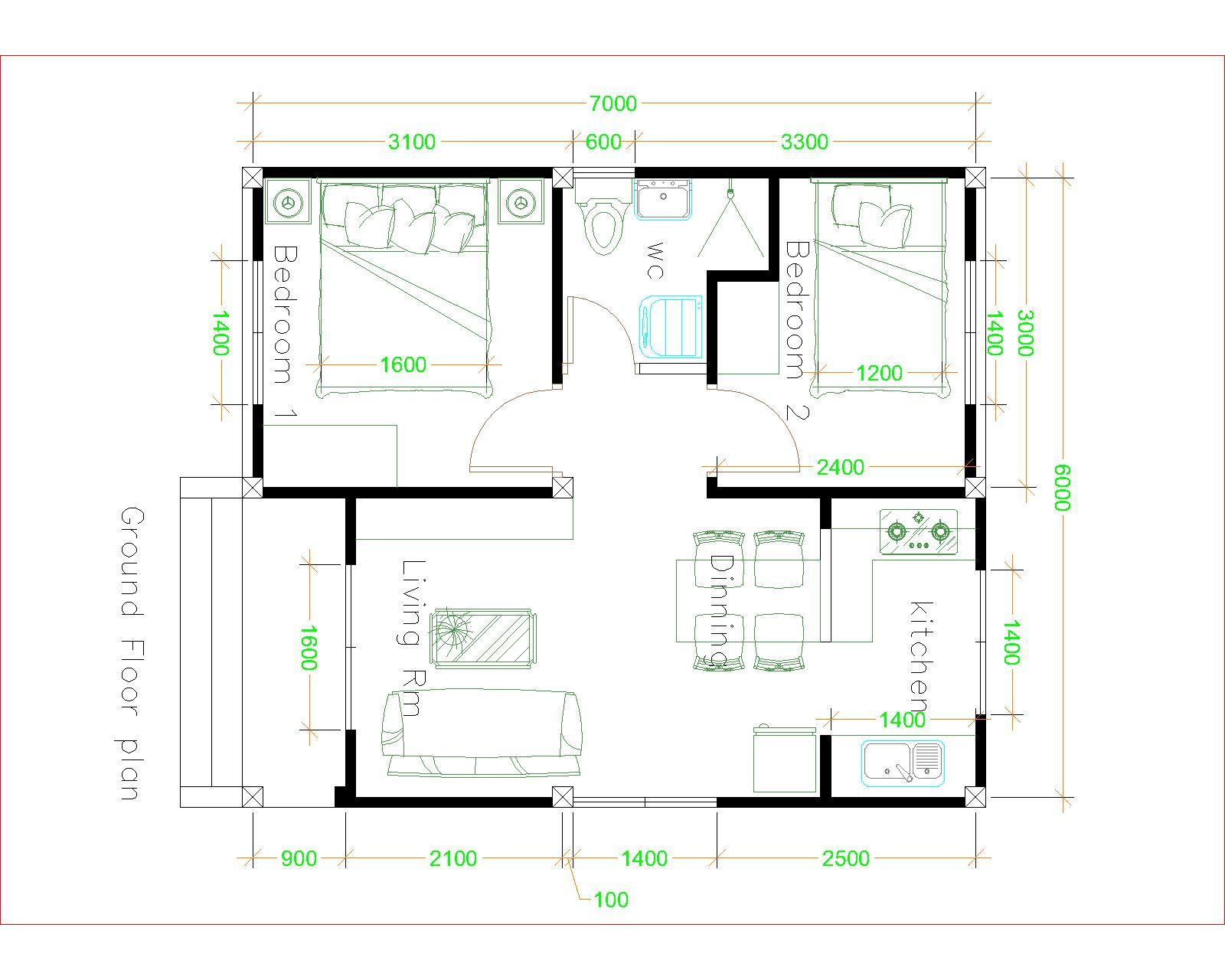 Simple House Plans 6x7 With 2 Bedrooms Hip Roof House Plans 3d In 2020 Simple House Plans Simple House Design Tiny House Layout
