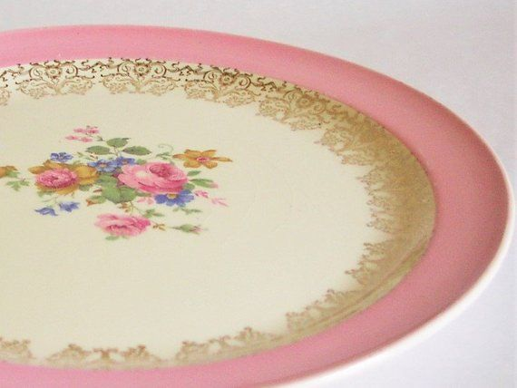 Antique Edwin Knowles Rose Flowers Large Plate - Rose Center, Gold Scrolls & Pink Rim 42-12 USA Fine China, Rosarian Rose Lover Gift 12 1/4 #pinkrims