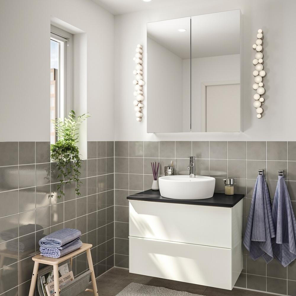 Godmorgon Tolken Tornviken Bathroom Furniture Set Of 5 High Gloss White Anthracite Dalskar Tap Ikea In 2020 Bathroom Furniture Ikea Diy Bathroom Remodel