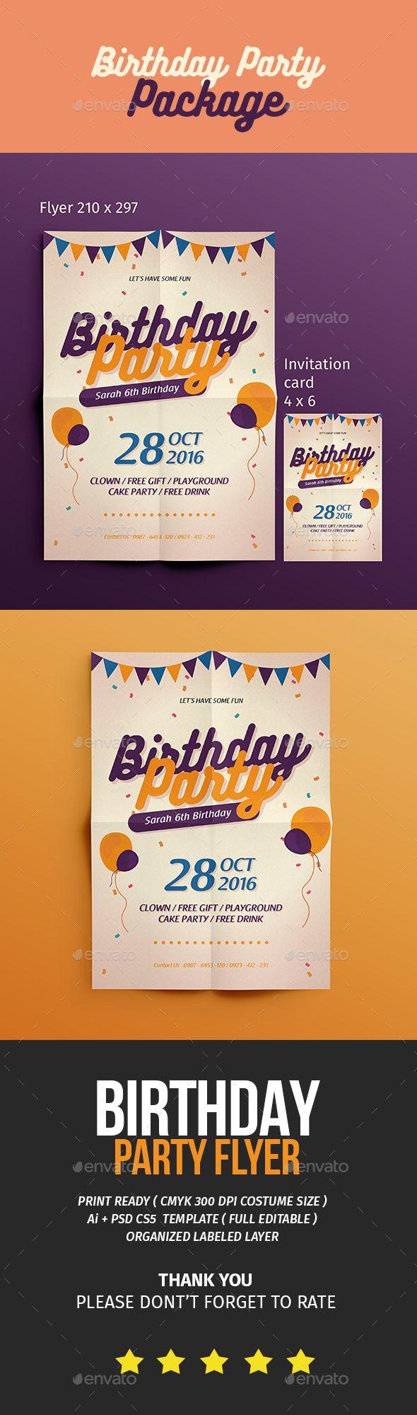 Birthday Flyer Invitation Birthdays Ai Illustrator And Flyer