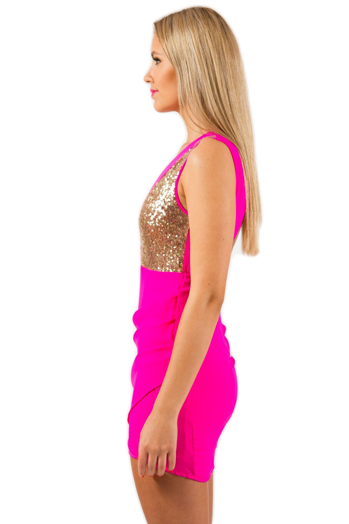 Pink cut out dress  Hot Pink Gold Sequin Sleeveless Back Cut Out Dress Dress clubbing