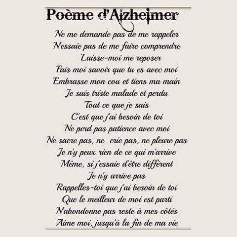 Exceptionnel Journée mondiale contre la maladie d'Alzheimer Un poème à  PA84