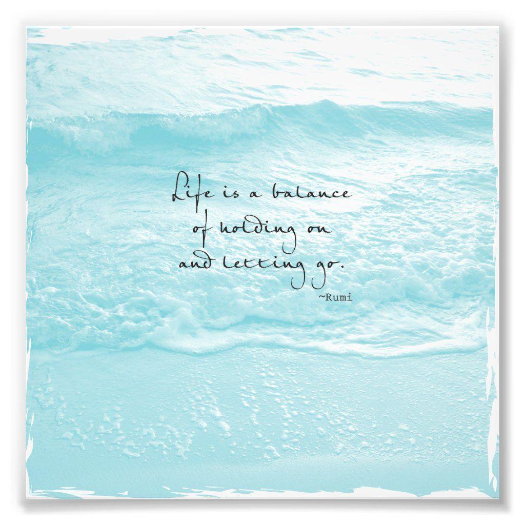 Aqua Ocean Photo With Rumi Quote