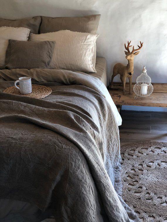 Photo of Copertina di biancheria da letto, biancheria da rustico, rustica coperta con frange, lino tiro, letto tiro, tiro rustico, naturale letto copre, biancheria da letto della tela da imballaggio
