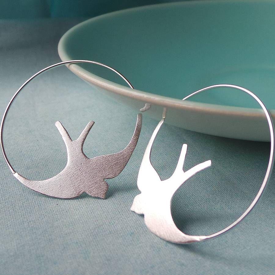Silver Swallow Hoop Earrings By Martha Jackson Notonthehighstreet