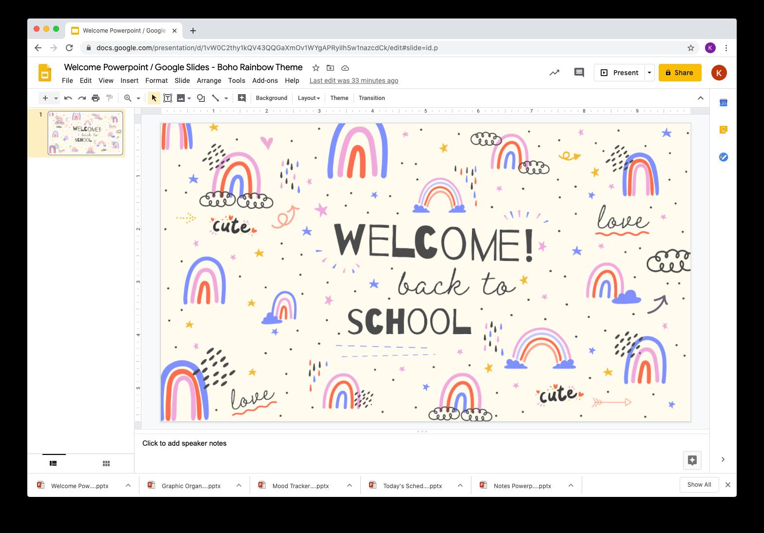 Welcome Powerpoint Google Slides Boho Rainbow Theme Powerpoint Rainbow Theme Google Slides