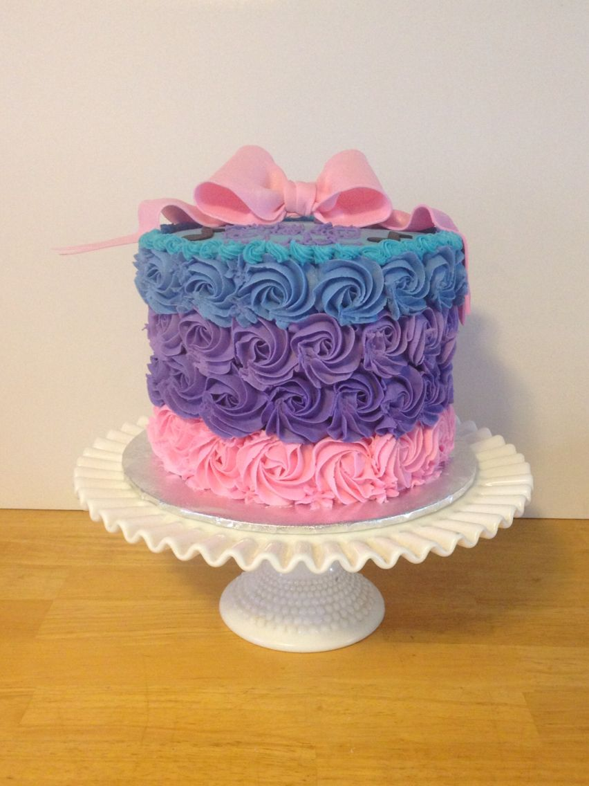 Pink Purple Blue Buttercream Swirl Cake With Images Blue