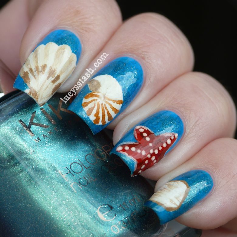 Painting Seashells With Nail Polish: Sea Shells Nail Art Manicure With KIKO Polishes