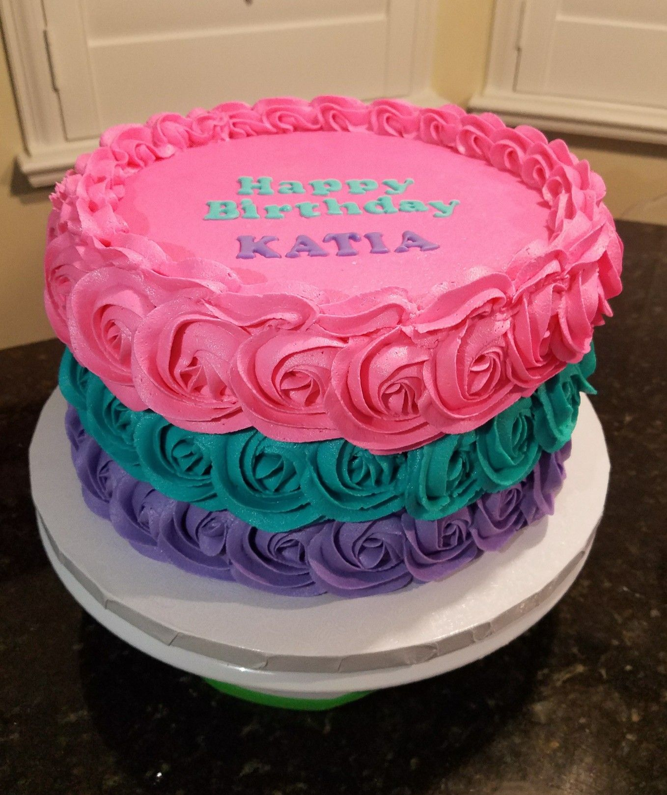 Pink Teal And Purple Birthday Cake With Images Purple Cakes