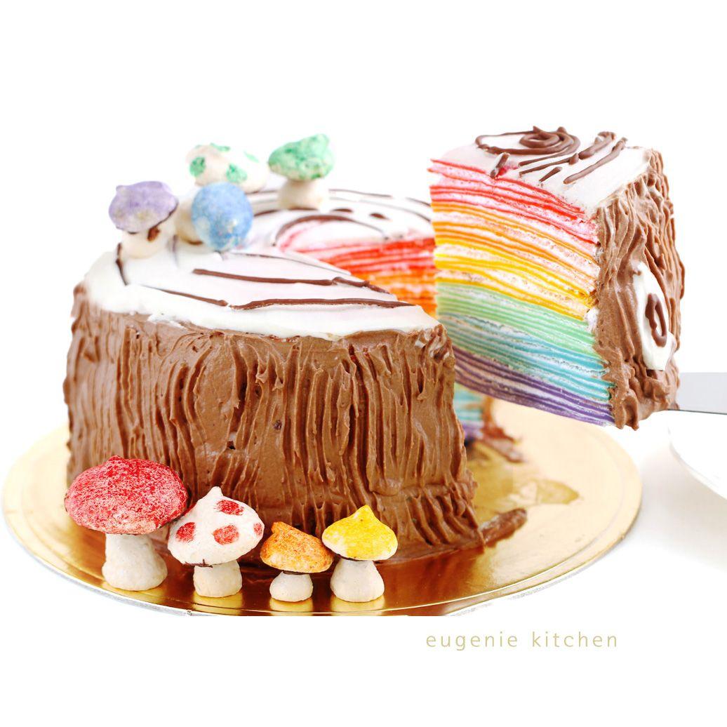 No Bake Rainbow Mille Crepe Yule Log Cake Recipe Crepe Cake Cake Cupcake Cakes