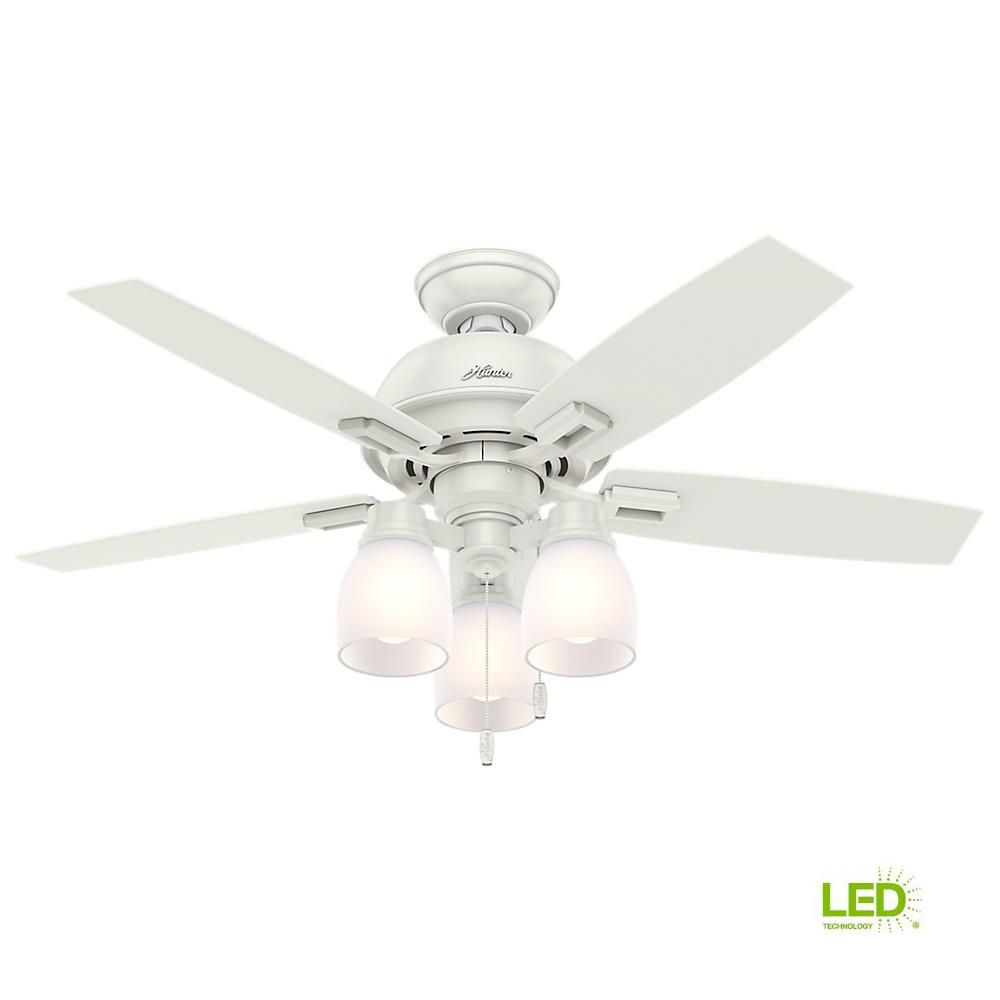Hunter Donegan 44 In Led Indoor Fresh White Ceiling Fan With 3 Light Kit Bundled With Handheld Remote Control 52229r White Ceiling Fan Ceiling Fan Ceiling Fan With Light