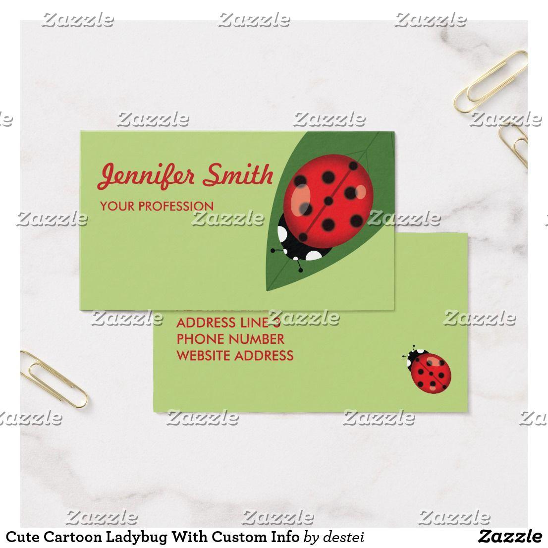 Cute Cartoon Ladybug With Custom Info Business Card | Ladybird ...