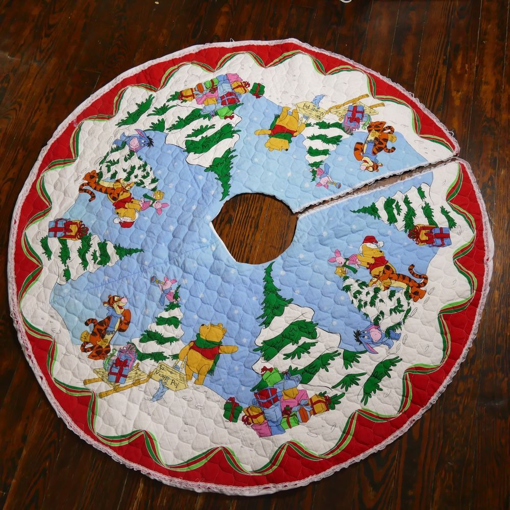 Details About Winnie The Pooh Handmade Quilted Tree Skirt Eeyore Tigger Piglet 56 Inches