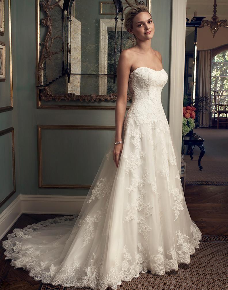 Casablanca Bridal 2222 Strapless Drop Waist Lace A Line Wedding Dress