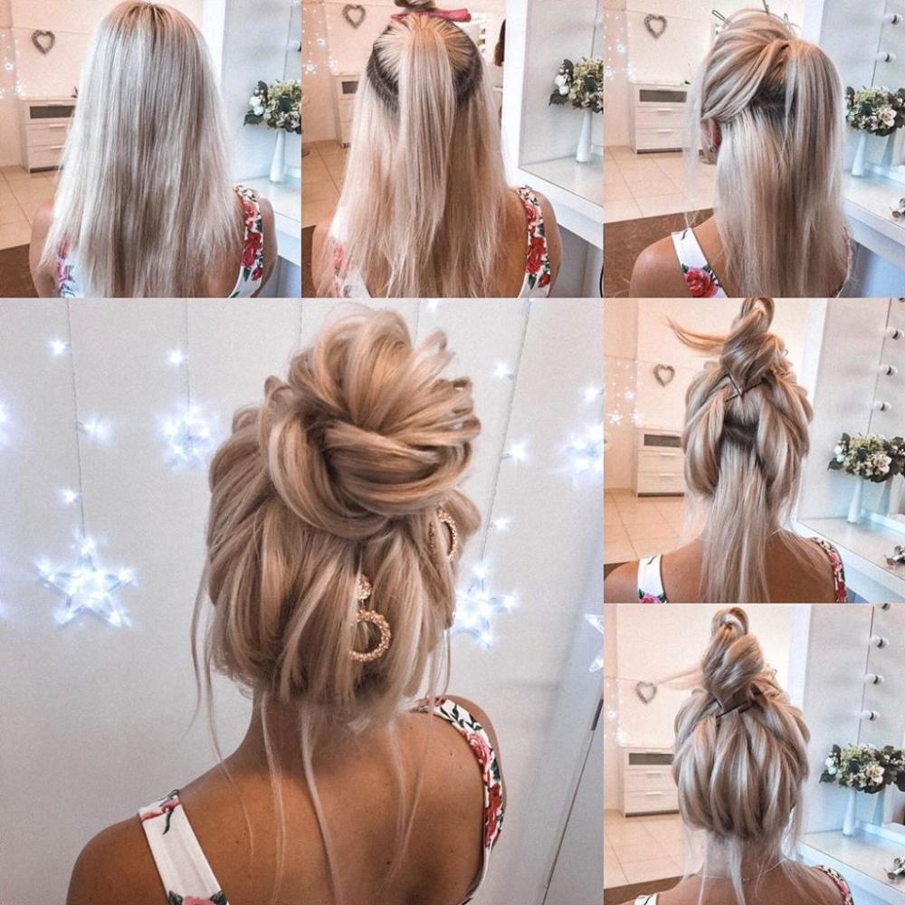Elegant Hairstyle Ideas Tutorials New Year Eve High Updo Blond Hair Long Hair Styles Hair Styles Elegant Hairstyles