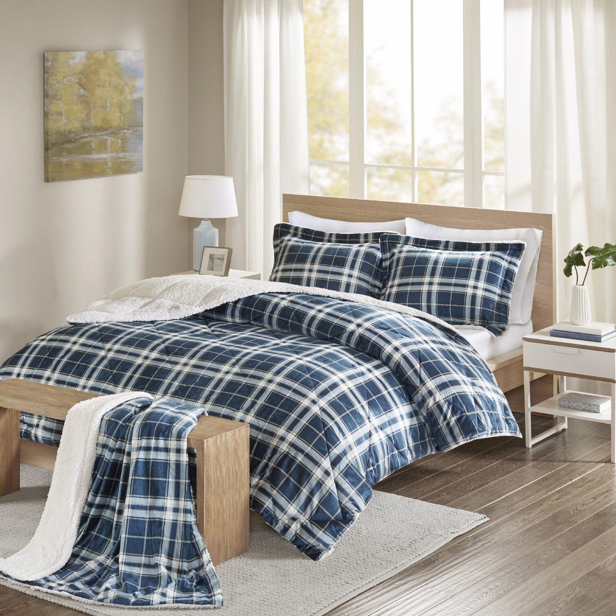 Comfort Spaces  Aaron Sherpa Comforter Set  4 Piece  Checker Fair Aaron Bedroom Set Inspiration