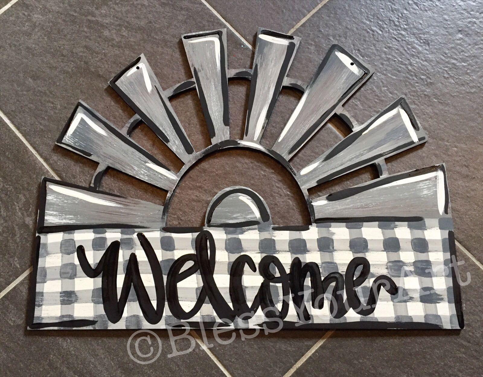 Windmill Welcome Door Hanger 1000 In 2020 Door Hangers Diy Summer Door Hanger Wood Door Hangers