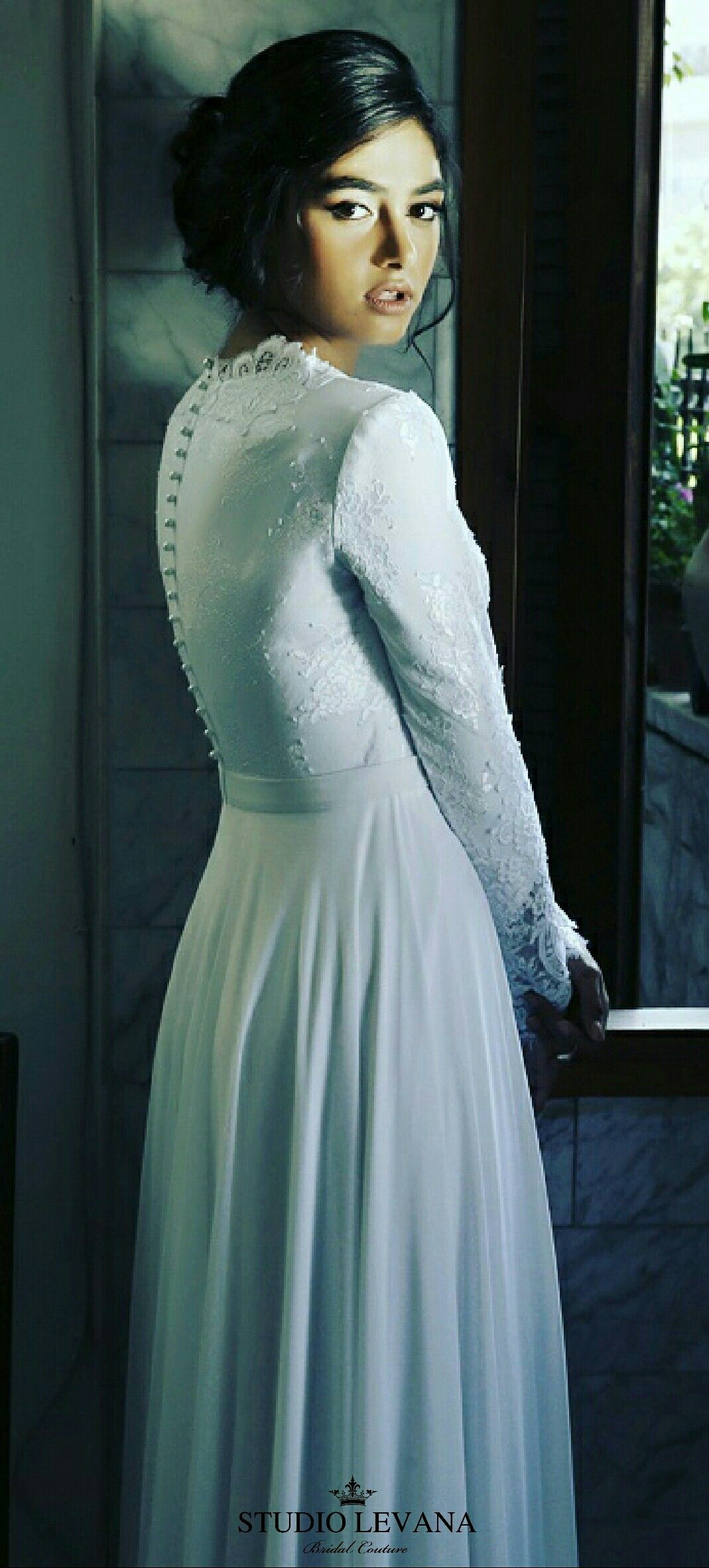 Modest wedding gown with long lace sleeves. Studio Levana | Modest ...