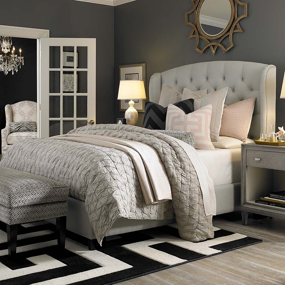 Bedroom Art Deco Red Accent Wall Bedroom Bedroom Bed Ideas Dark Carpet Bedroom Ideas: Custom Uph Beds Paris Arched Winged Bed