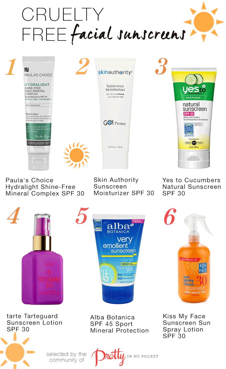 Cruelty Free Sunscreens! Find them here: http://www.prettyinmypocket.com/web/looks/4831-cruelty-free-sunscreens