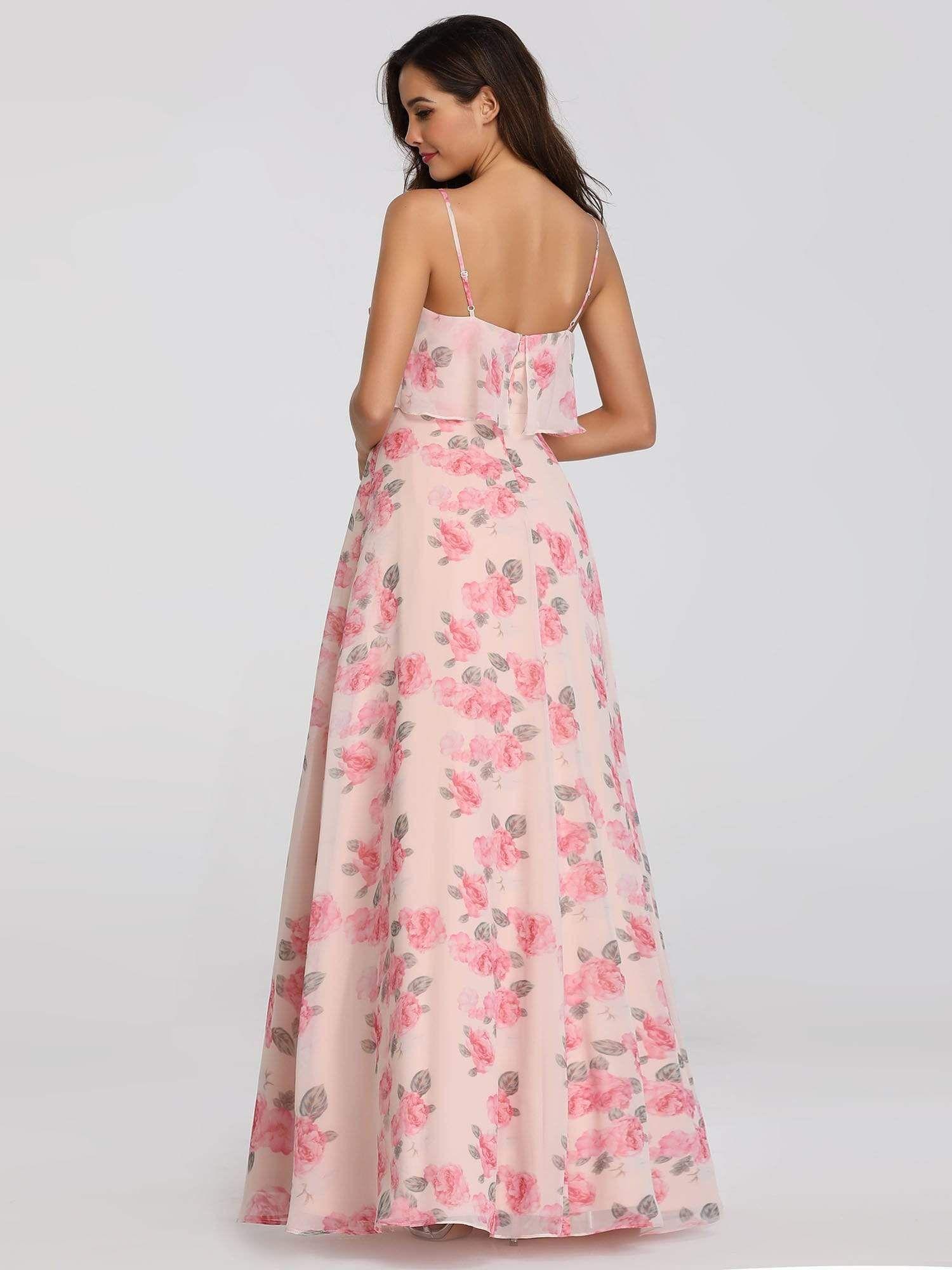 Spaghetti Straps Long Floral Print Maxi Dress - Ever ...