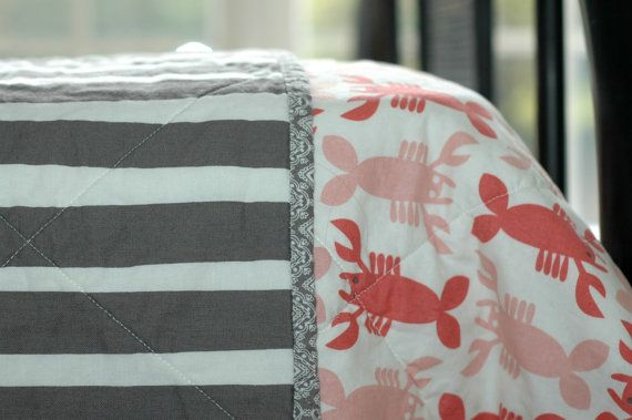 OMG CUTE!!!!    Lobster and Gray Stripe Baby Quilt, Ready to Ship. $85.00, via Etsy.