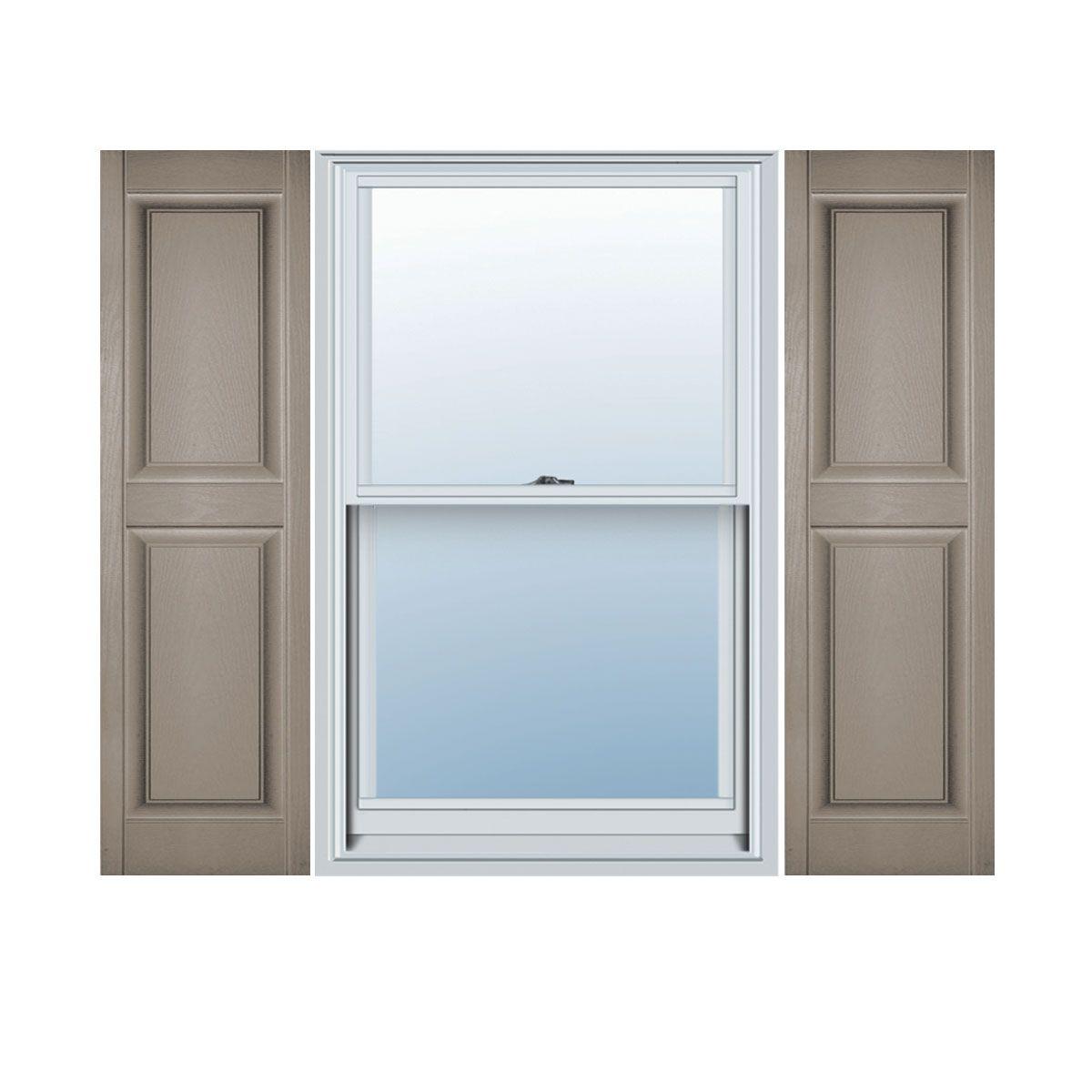 Custom Size Double Panel Vinyl Raised Panel Window Shutters, w/Shutter-Loks (Per Pair) - 0