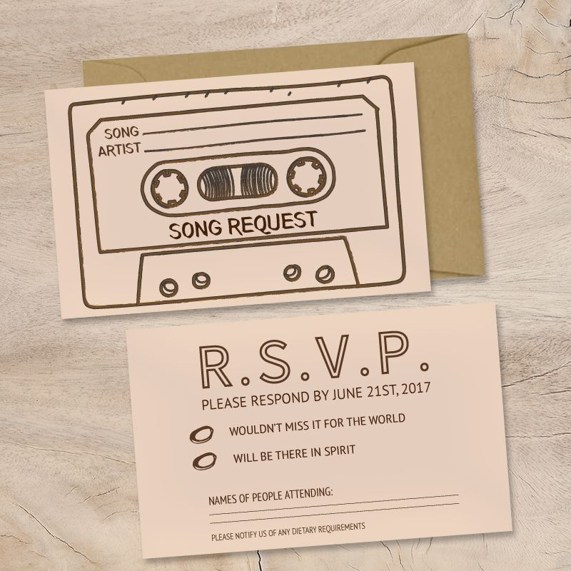 Cassette Tape Wedding Invitation Insert With RSVP And Song Request Envelope Included