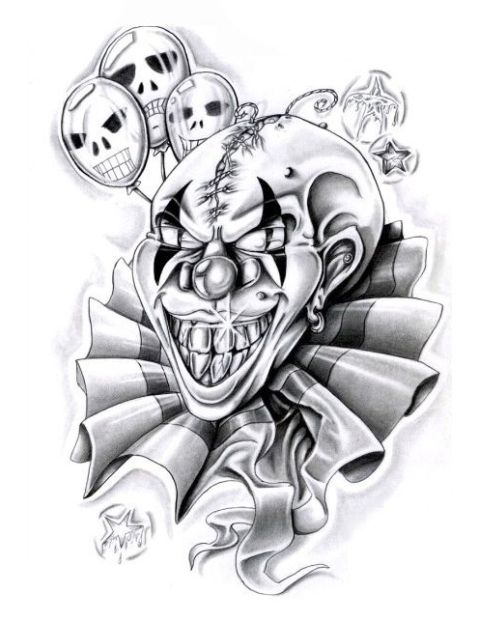 Clown tattoo designs black white
