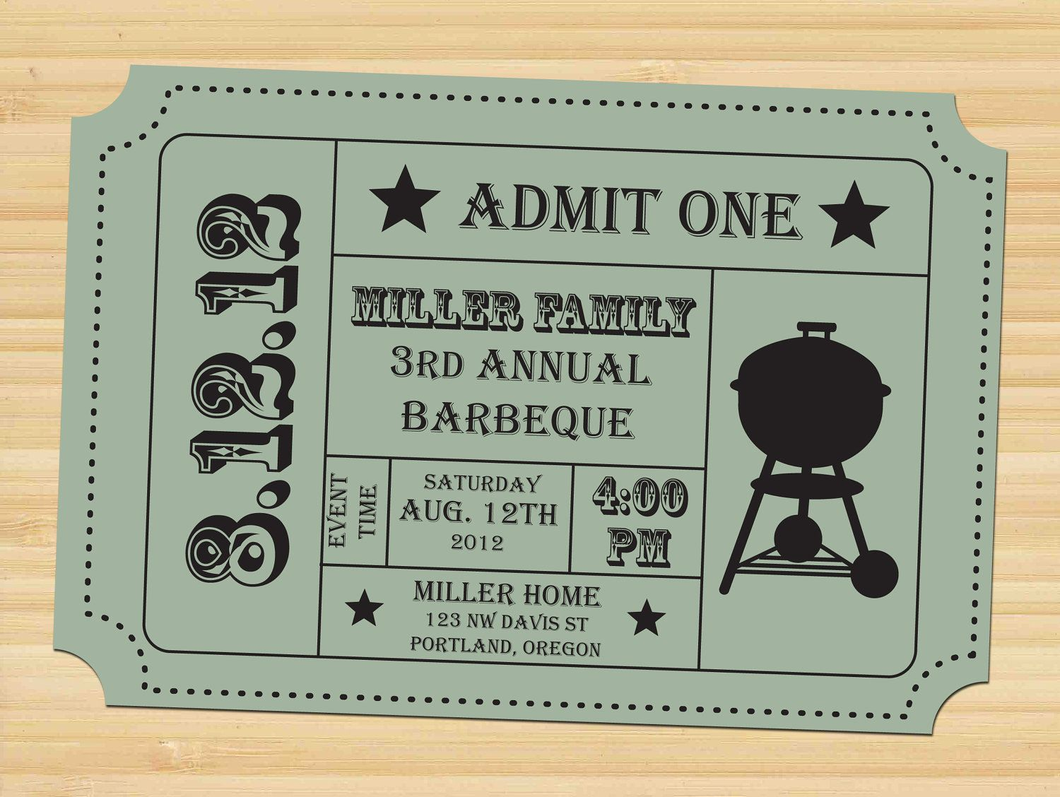 ticket invitation barbeque camp out family by styledbykristen via