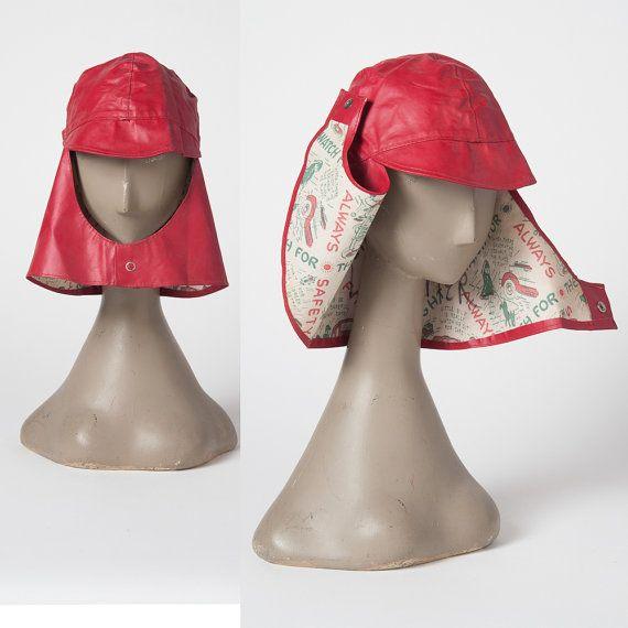Vintage Rain Hat 1950s Red Vinyl Children s Rain by missfarfalla ... 20893f24c10