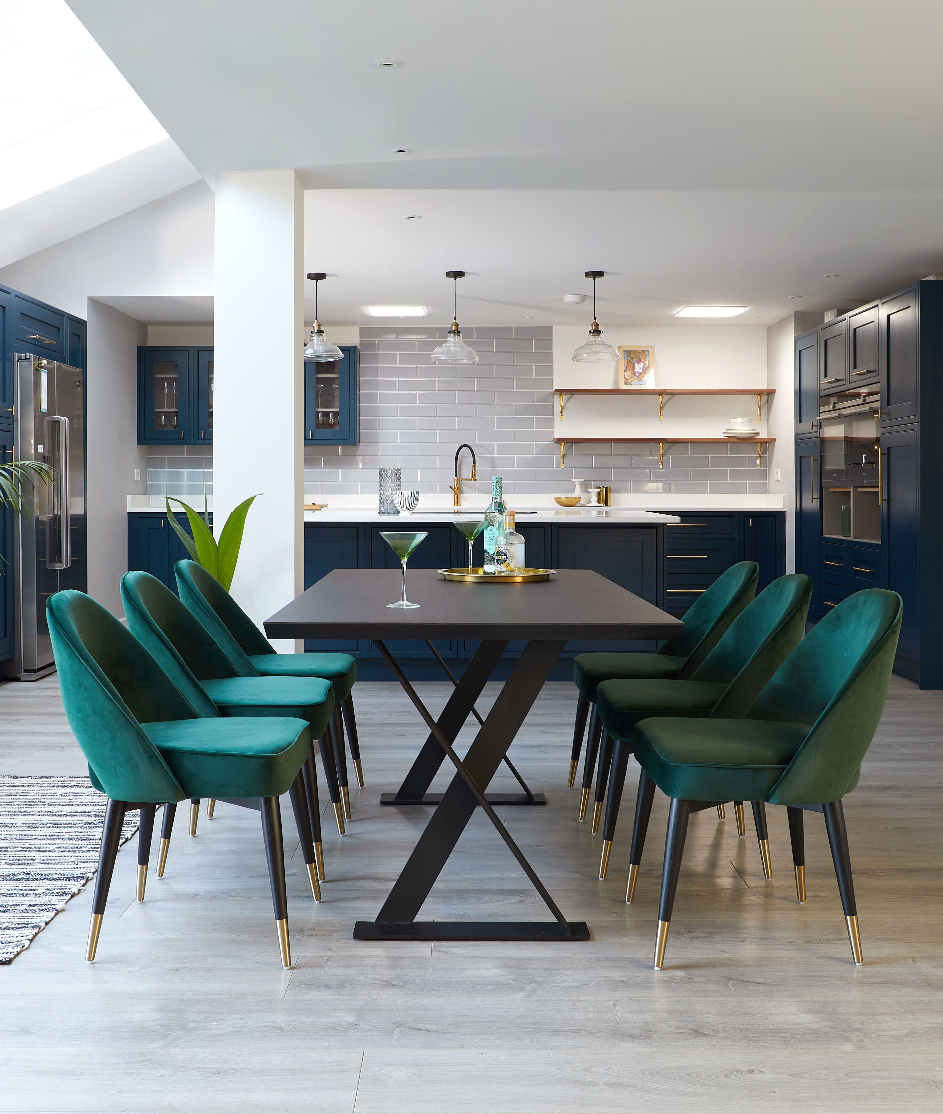 Velvet Dining Chairs Nala Dark Oak And Clover Midnight Blue