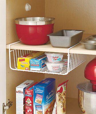 White Under The Shelf Cabinet Rack Kitchen Organizer Basket Storage Bin Pantry in Home & Garden, Kitchen, Dining & Bar, Kitchen Storage & Organization   eBay