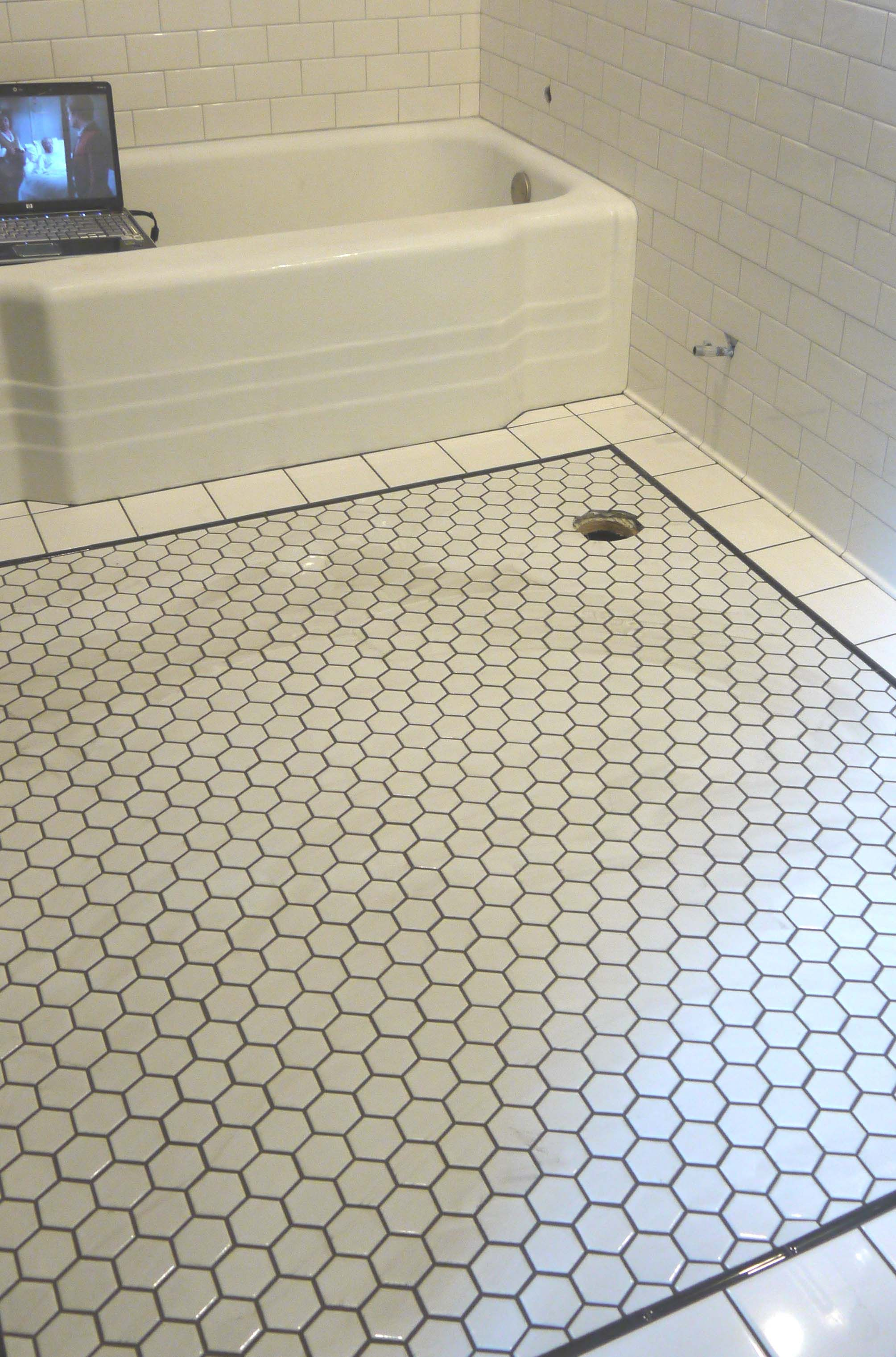 Hexagon Tile with Dark Grout House Bathroom Reno