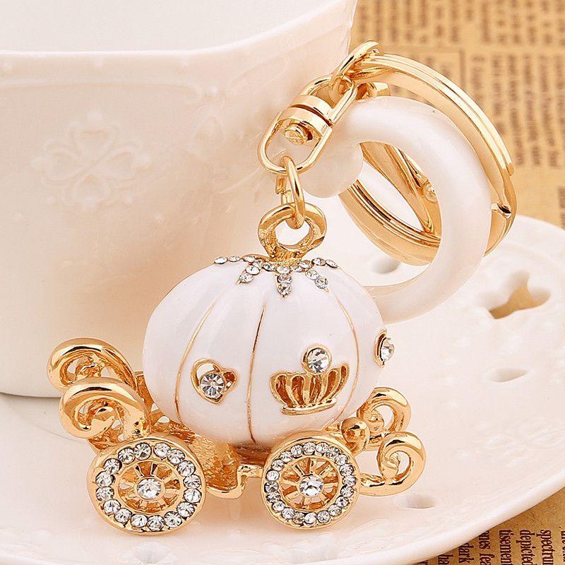 f4ca456e4098 Fashion charm trinket kawaii pumpkin Rhinestone car key chain ring holder  women handbag keyring girl bag Pendant Jewelry gift